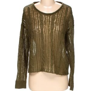 Kensie Olive Green Sheer Knit Boxy Sweater S